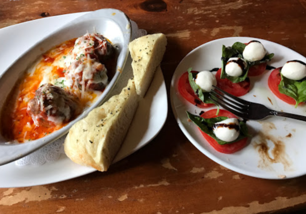 baked meatballs and caprese salad